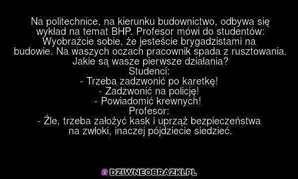 Najważniejsza lekcja z wykładu o BHP