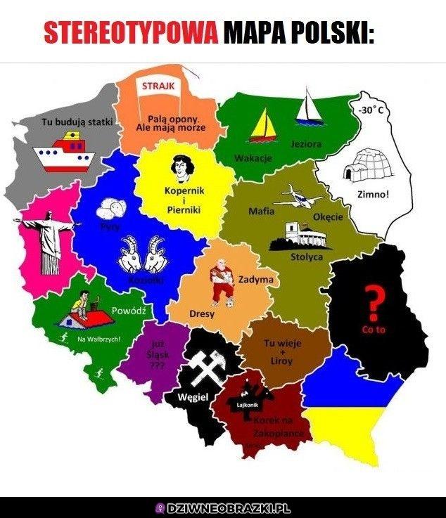 Stereotypowa mapa Polski